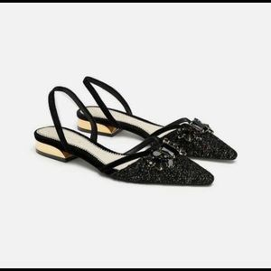Zara Shoes - Zara EMBELLISHED SLINGBACK SLIDES TWEETED JEWELD